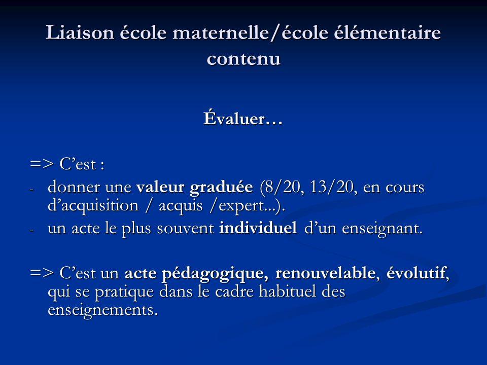 Liaison école maternelle/école élémentaire contenu Évaluer… => Cest : - donner une valeur graduée (8/20, 13/20, en cours dacquisition / acquis /expert