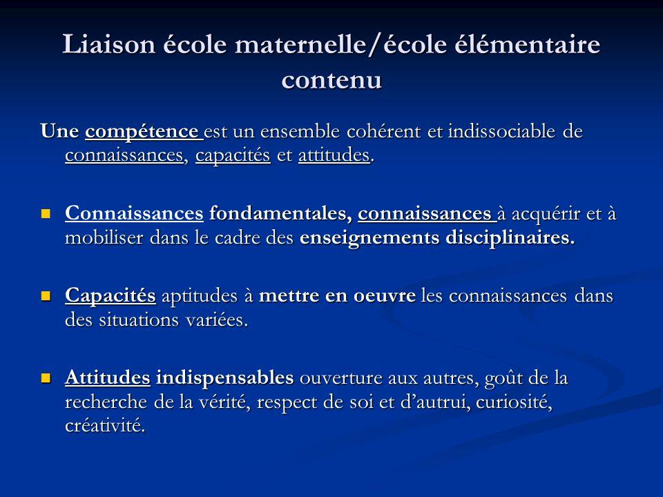 Liaison école maternelle/école élémentaire contenu Si des lacunes manifestes apparaissent dans un domaine, la compétence ne pourra être validée.