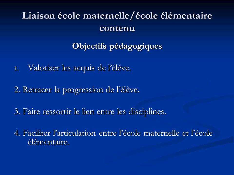 Liaison école maternelle/école élémentaire contenu Objectifs pédagogiques 1.