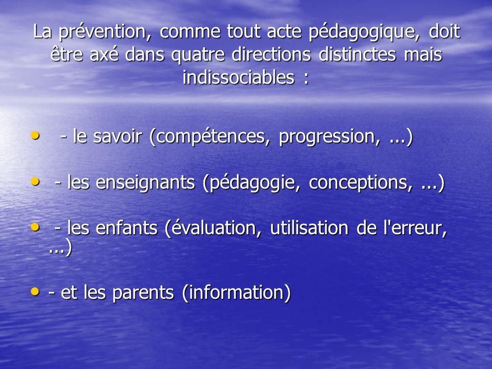 La prévention, comme tout acte pédagogique, doit être axé dans quatre directions distinctes mais indissociables : - le savoir (compétences, progression,...) - le savoir (compétences, progression,...) - les enseignants (pédagogie, conceptions,...) - les enseignants (pédagogie, conceptions,...) - les enfants (évaluation, utilisation de l erreur,...) - les enfants (évaluation, utilisation de l erreur,...) - et les parents (information) - et les parents (information)
