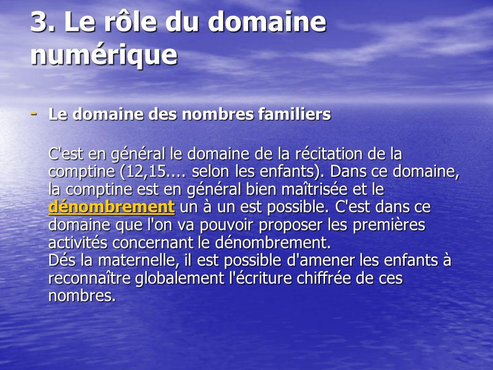 3. Le rôle du domaine numérique - Le domaine des nombres familiers C'est en général le domaine de la récitation de la comptine (12,15.... selon les en