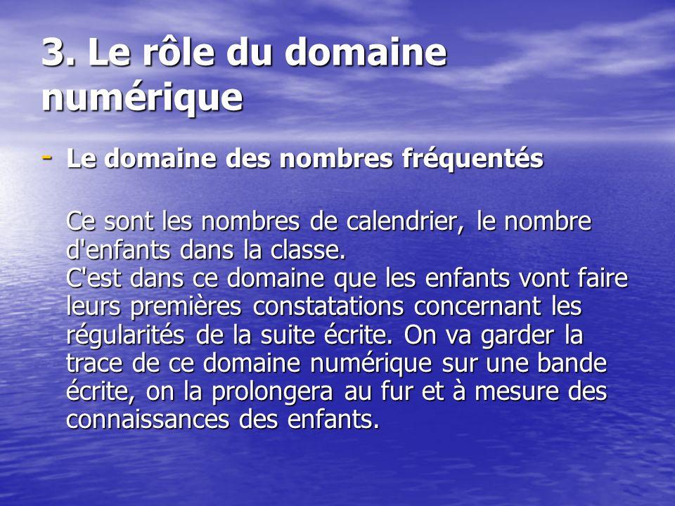 3. Le rôle du domaine numérique - Le domaine des nombres fréquentés Ce sont les nombres de calendrier, le nombre d'enfants dans la classe. C'est dans