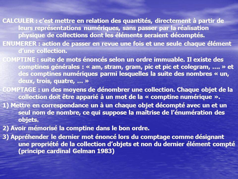 CALCULER : cest mettre en relation des quantités, directement à partir de leurs représentations numériques, sans passer par la réalisation physique de collections dont les éléments seraient décomptés.