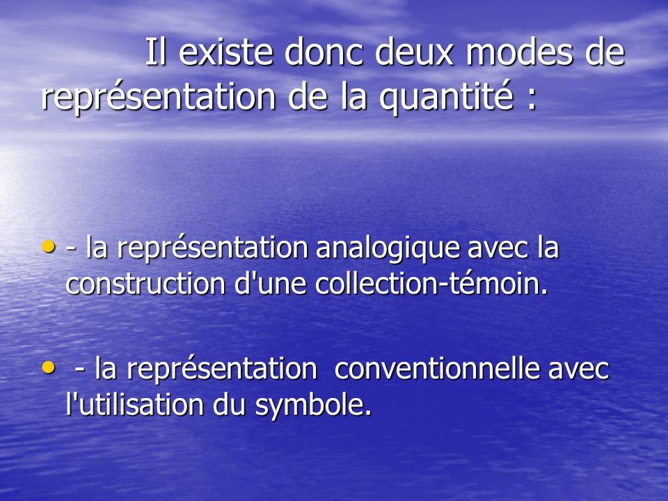 Il existe donc deux modes de représentation de la quantité : Il existe donc deux modes de représentation de la quantité : - la représentation analogique avec la construction d une collection-témoin.
