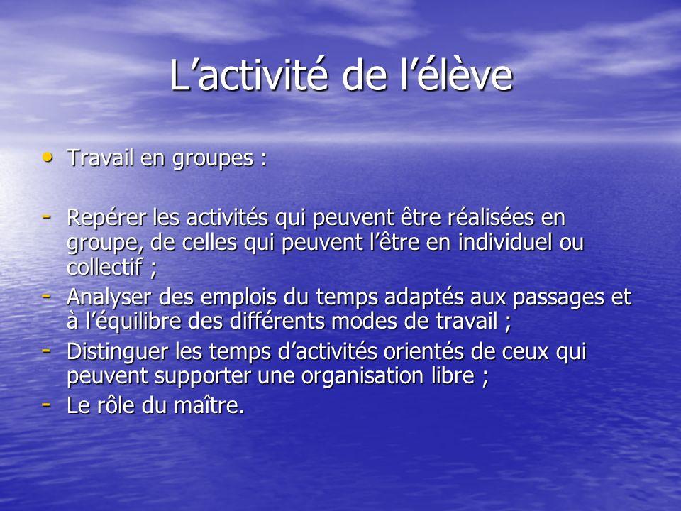 Lactivité de lélève Travail en groupes : Travail en groupes : - Repérer les activités qui peuvent être réalisées en groupe, de celles qui peuvent lêtr