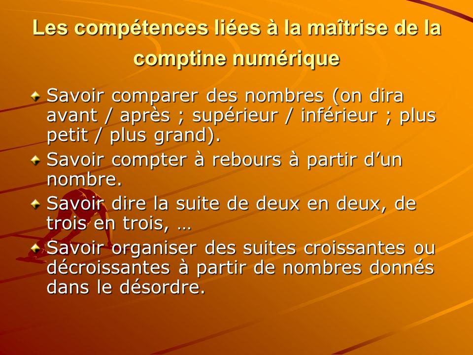 Les compétences liées à la maîtrise de la comptine numérique Savoir comparer des nombres (on dira avant / après ; supérieur / inférieur ; plus petit /