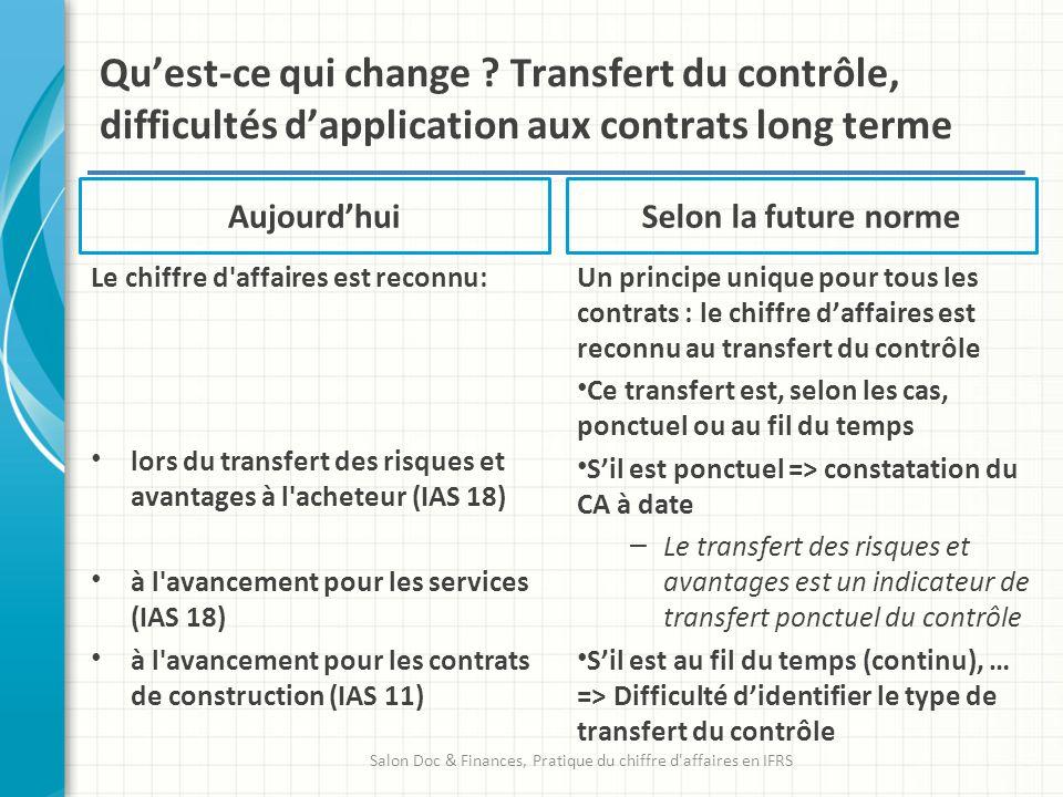 Aujourdhui Le chiffre d'affaires est reconnu: lors du transfert des risques et avantages à l'acheteur (IAS 18) à l'avancement pour les services (IAS 1