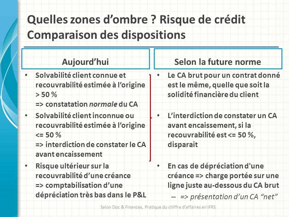 Quelles zones dombre ? Risque de crédit Comparaison des dispositions Aujourdhui Solvabilité client connue et recouvrabilité estimée à lorigine > 50 %