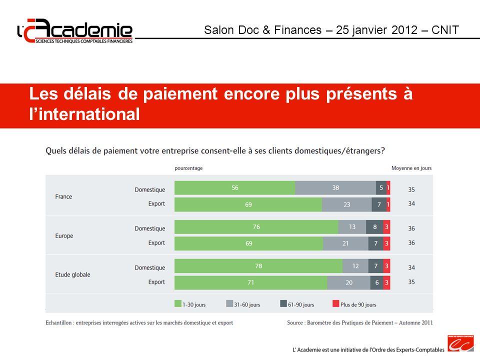 Les délais de paiement encore plus présents à linternational Salon Doc & Finances – 25 janvier 2012 – CNIT