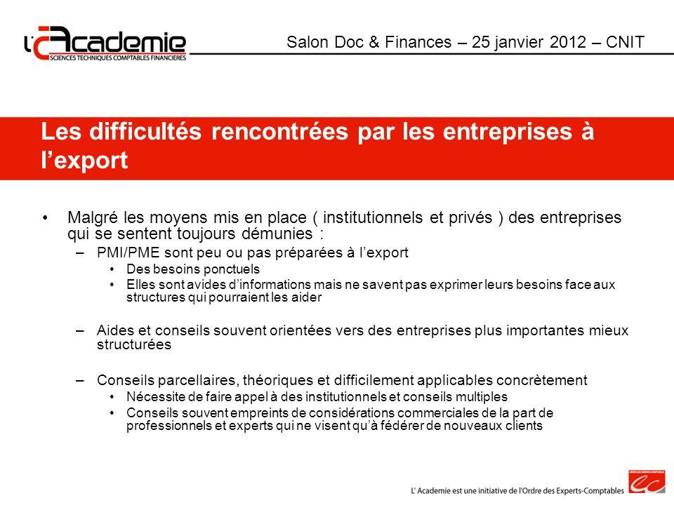 Les difficultés rencontrées par les entreprises à lexport Malgré les moyens mis en place ( institutionnels et privés ) des entreprises qui se sentent