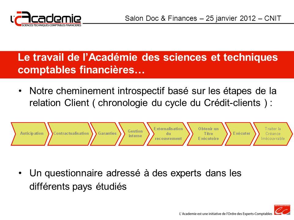 Le travail de lAcadémie des sciences et techniques comptables financières… Notre cheminement introspectif basé sur les étapes de la relation Client (