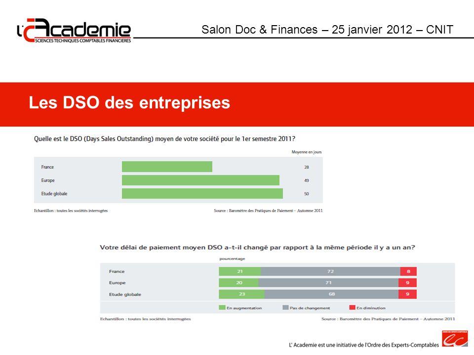 Les DSO des entreprises Salon Doc & Finances – 25 janvier 2012 – CNIT
