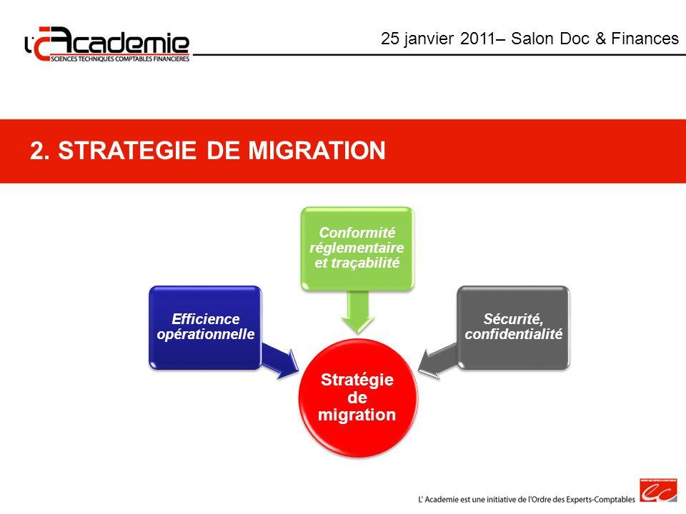2. STRATEGIE DE MIGRATION Stratégie de migration Efficience opérationnelle Conformité réglementaire et traçabilité Sécurité, confidentialité 25 janvie