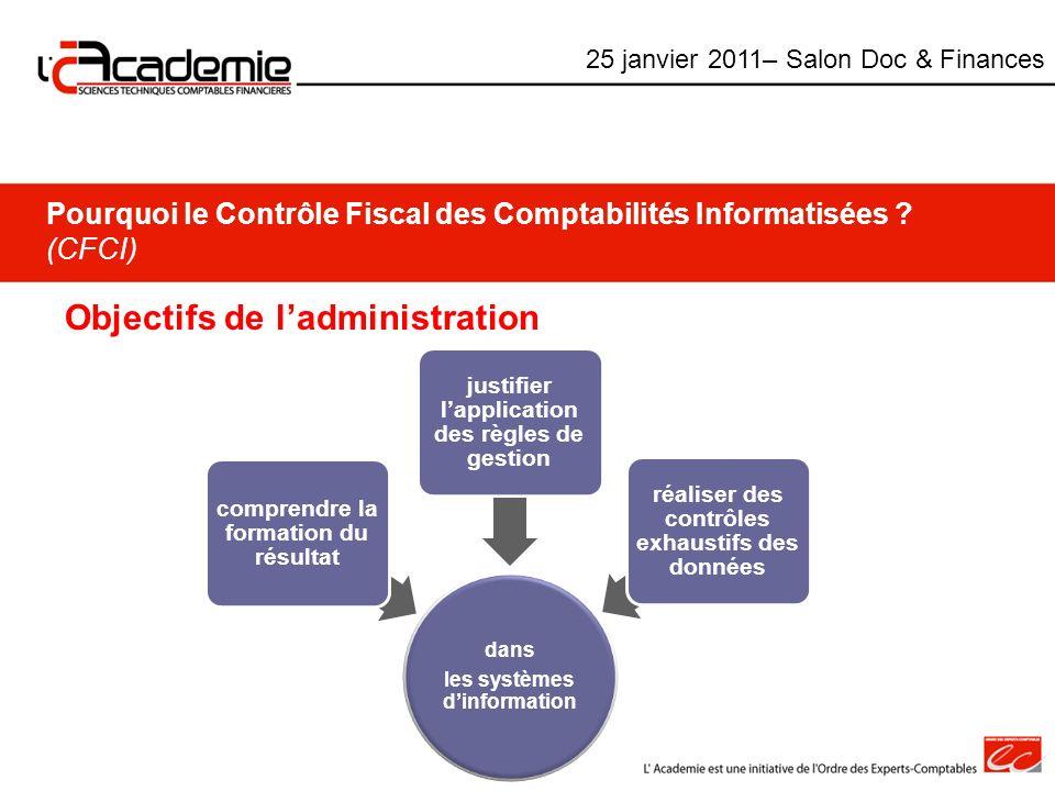 Pourquoi le Contrôle Fiscal des Comptabilités Informatisées ? (CFCI) Objectifs de ladministration dans les systèmes dinformation comprendre la formati