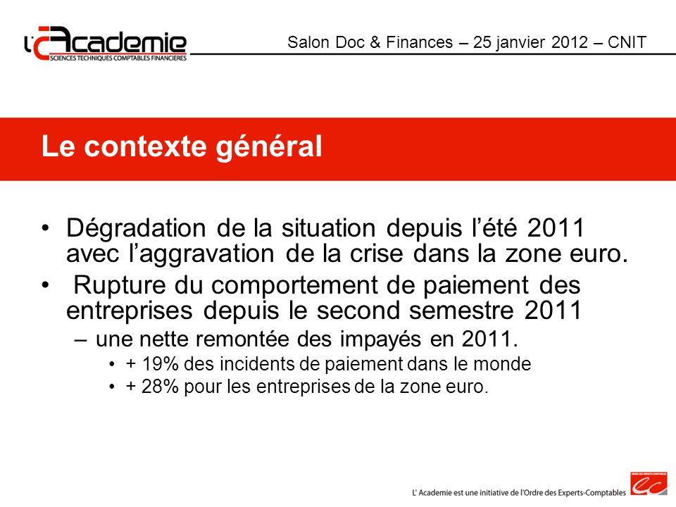 Le contexte général Dégradation de la situation depuis lété 2011 avec laggravation de la crise dans la zone euro. Rupture du comportement de paiement
