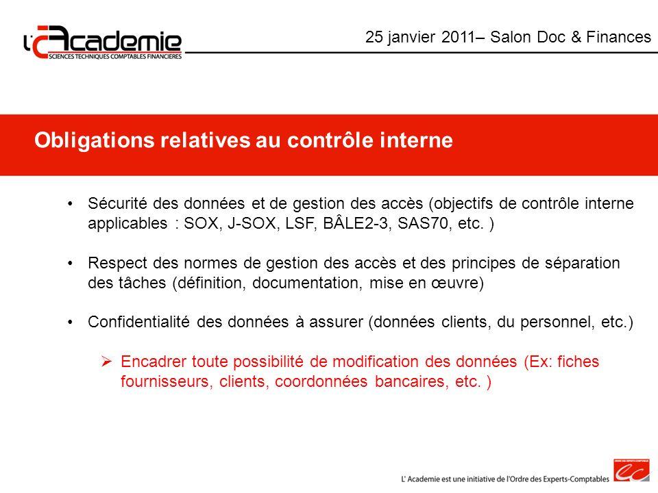 Obligations relatives au contrôle interne Sécurité des données et de gestion des accès (objectifs de contrôle interne applicables : SOX, J-SOX, LSF, B