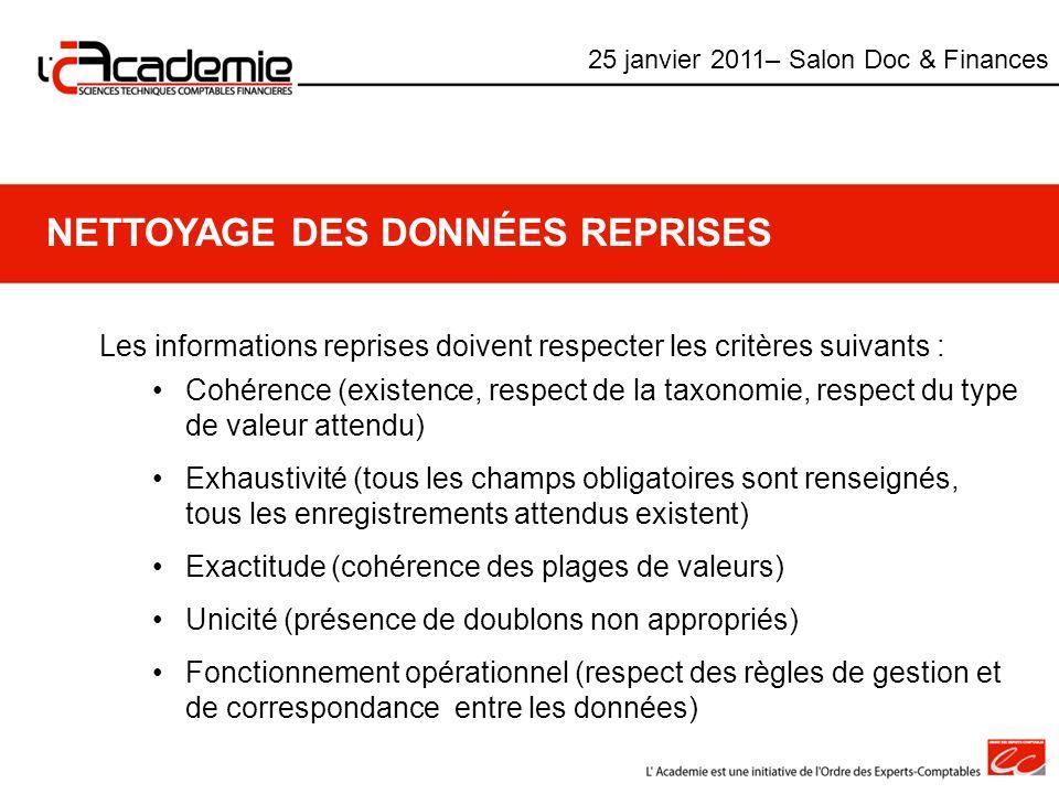 NETTOYAGE DES DONNÉES REPRISES Les informations reprises doivent respecter les critères suivants : Cohérence (existence, respect de la taxonomie, resp