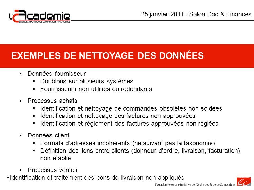EXEMPLES DE NETTOYAGE DES DONNÉES Données fournisseur Doublons sur plusieurs systèmes Fournisseurs non utilisés ou redondants Processus achats Identif