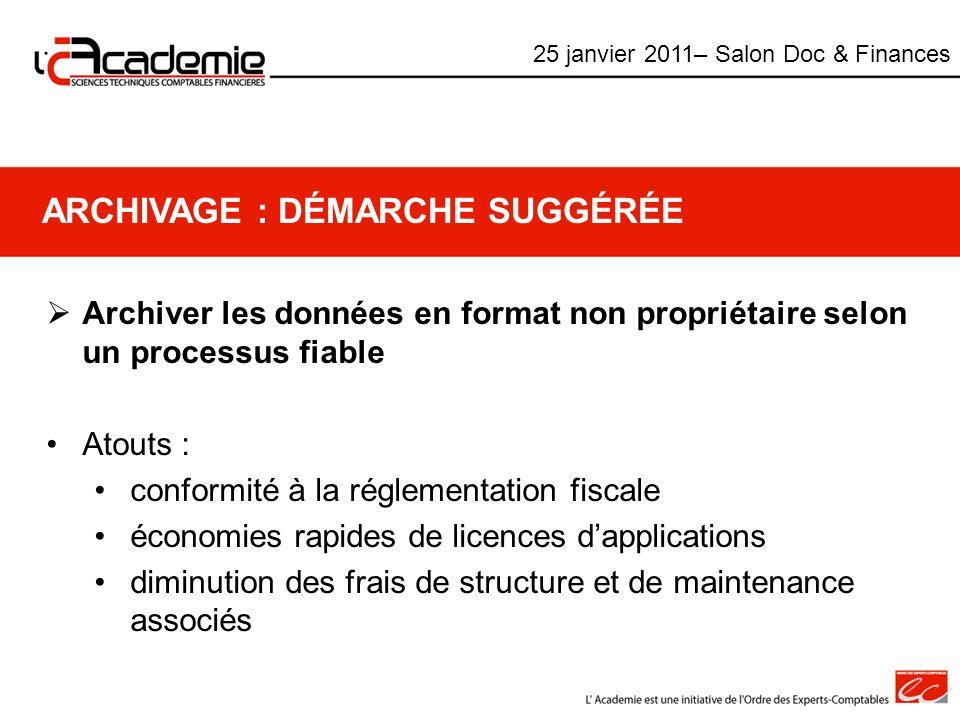 ARCHIVAGE : DÉMARCHE SUGGÉRÉE Archiver les données en format non propriétaire selon un processus fiable Atouts : conformité à la réglementation fiscal