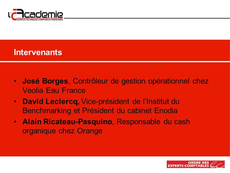 José Borges, Contrôleur de gestion opérationnel chez Veolia Eau France David Leclercq, Vice-président de lInstitut du Benchmarking et Président du cab