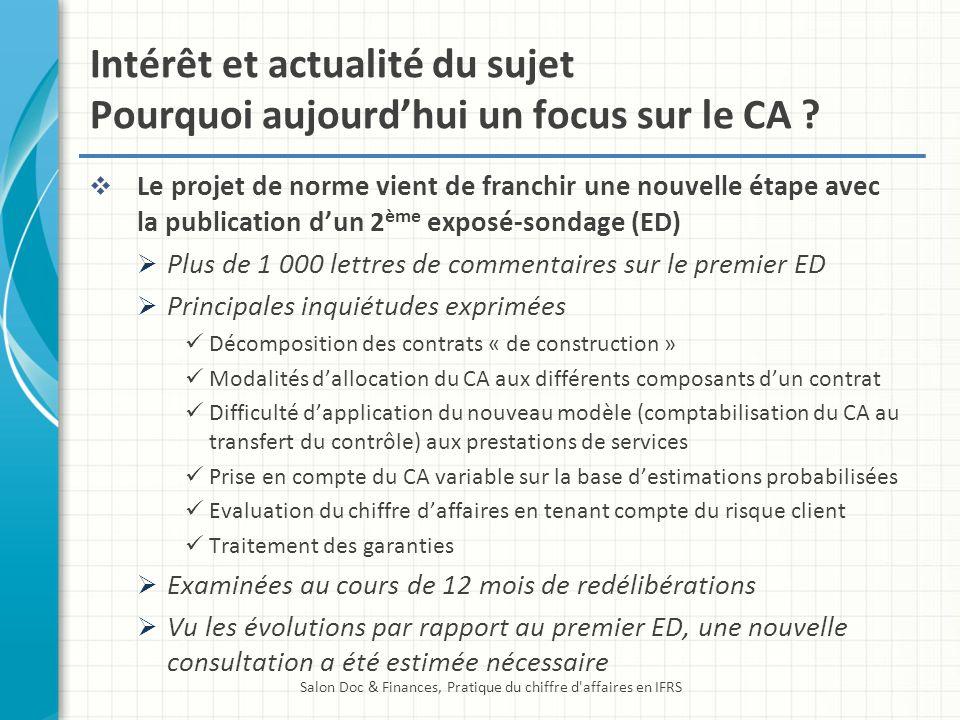 Intérêt et actualité du sujet Pourquoi aujourdhui un focus sur le CA ? Le projet de norme vient de franchir une nouvelle étape avec la publication dun