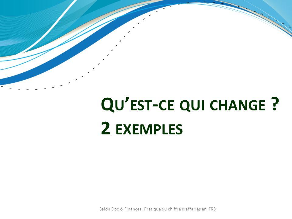 Q U EST - CE QUI CHANGE ? 2 EXEMPLES Salon Doc & Finances, Pratique du chiffre d'affaires en IFRS