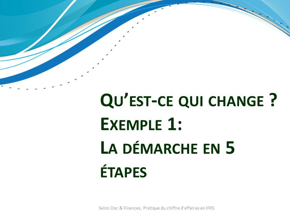 Q U EST - CE QUI CHANGE ? E XEMPLE 1: L A DÉMARCHE EN 5 ÉTAPES Salon Doc & Finances, Pratique du chiffre d'affaires en IFRS