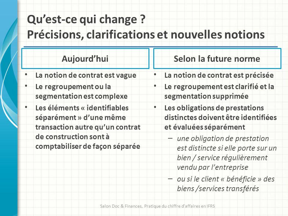 Aujourdhui La notion de contrat est vague Le regroupement ou la segmentation est complexe Les éléments « identifiables séparément » dune même transact