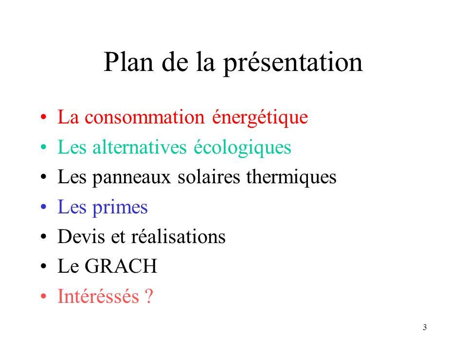 3 Plan de la présentation La consommation énergétique Les alternatives écologiques Les panneaux solaires thermiques Les primes Devis et réalisations Le GRACH Intéréssés ?