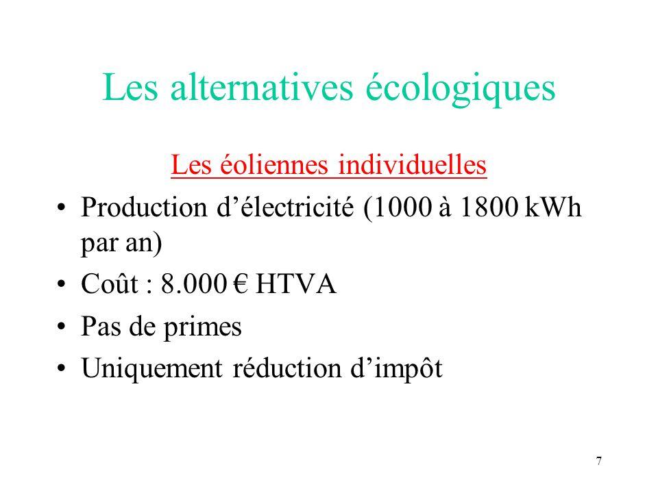 7 Les alternatives écologiques Les éoliennes individuelles Production délectricité (1000 à 1800 kWh par an) Coût : 8.000 HTVA Pas de primes Uniquement réduction dimpôt