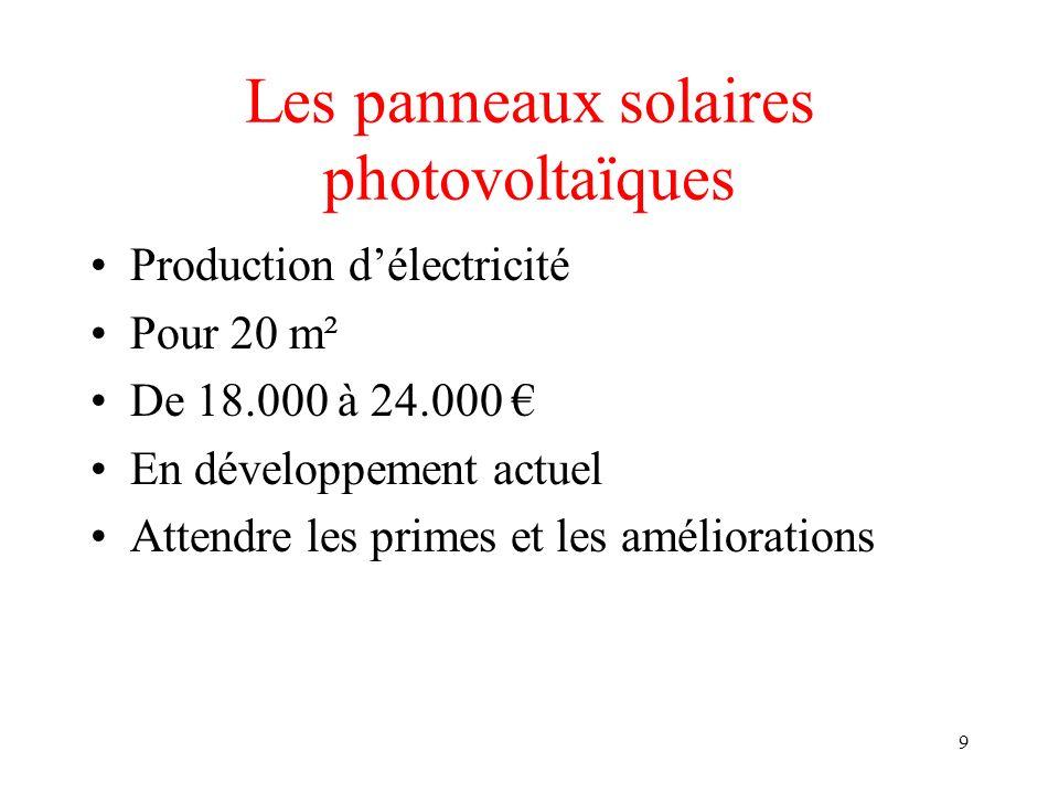 9 Les panneaux solaires photovoltaïques Production délectricité Pour 20 m² De 18.000 à 24.000 En développement actuel Attendre les primes et les améliorations