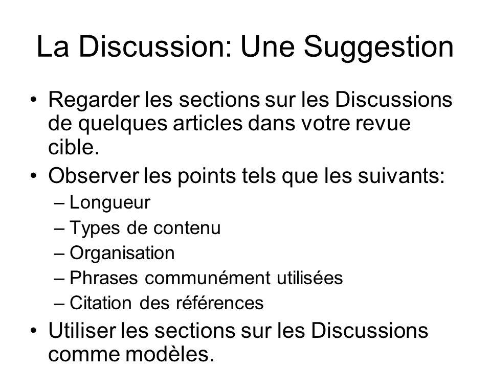 La Discussion: Une Suggestion Regarder les sections sur les Discussions de quelques articles dans votre revue cible.