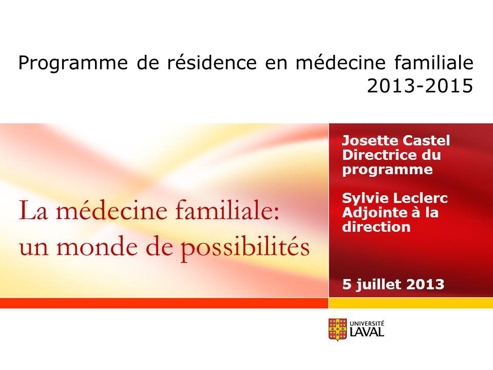 Programme de résidence en médecine familiale 2013-2015 Josette Castel Directrice du programme Sylvie Leclerc Adjointe à la direction 5 juillet 2013 La médecine familiale: un monde de possibilités