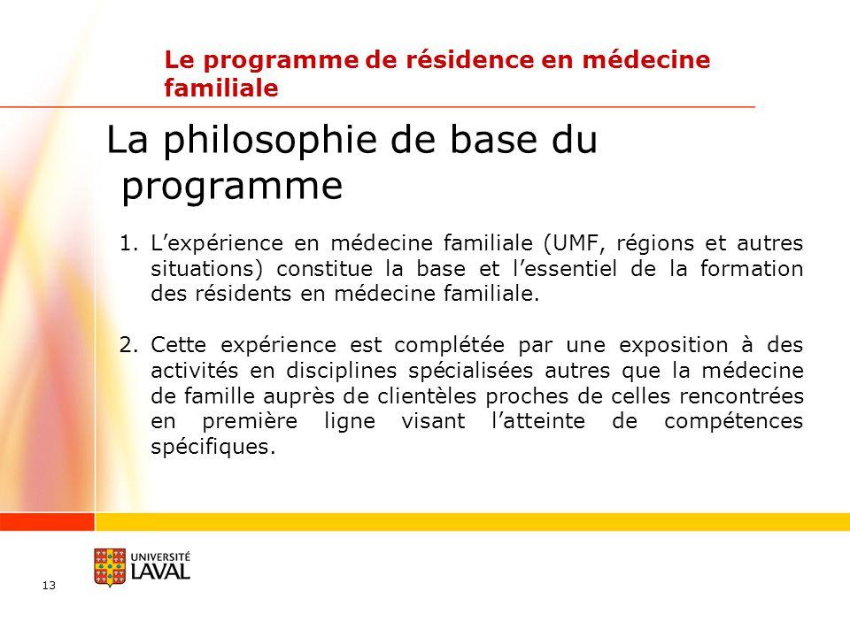 13 La philosophie de base du programme 1.Lexpérience en médecine familiale (UMF, régions et autres situations) constitue la base et lessentiel de la formation des résidents en médecine familiale.