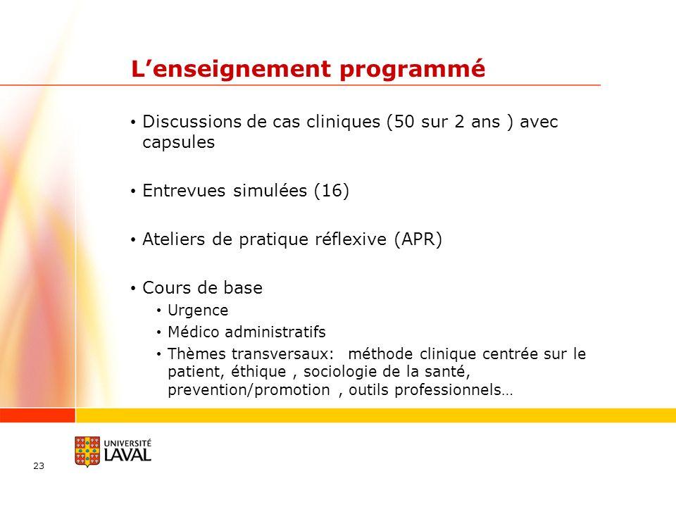 23 Lenseignement programmé Discussions de cas cliniques (50 sur 2 ans ) avec capsules Entrevues simulées (16) Ateliers de pratique réflexive (APR) Cou