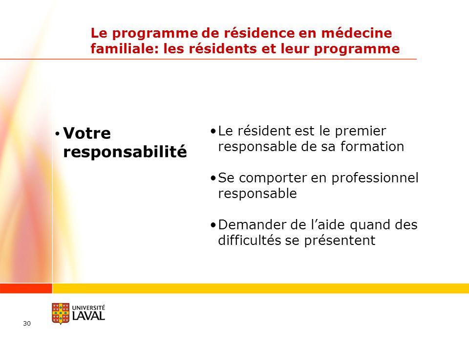 30 Le programme de résidence en médecine familiale: les résidents et leur programme Le résident est le premier responsable de sa formation Se comporter en professionnel responsable Demander de laide quand des difficultés se présentent Votre responsabilité