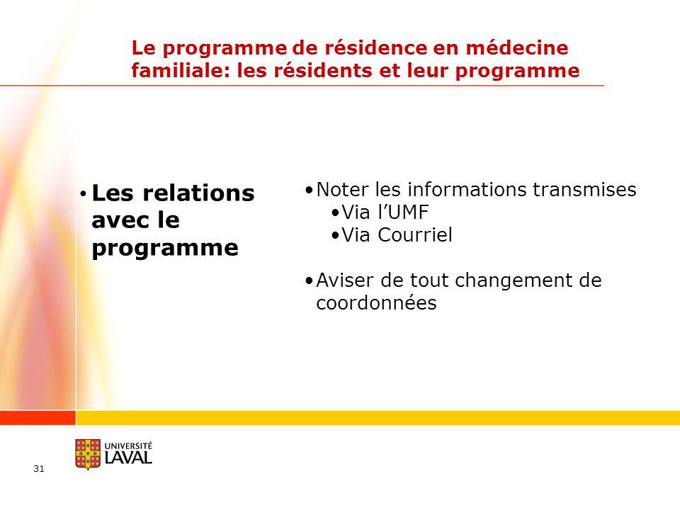 31 Le programme de résidence en médecine familiale: les résidents et leur programme Les relations avec le programme Noter les informations transmises