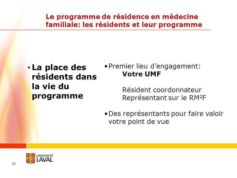 32 Le programme de résidence en médecine familiale: les résidents et leur programme La place des résidents dans la vie du programme Premier lieu denga