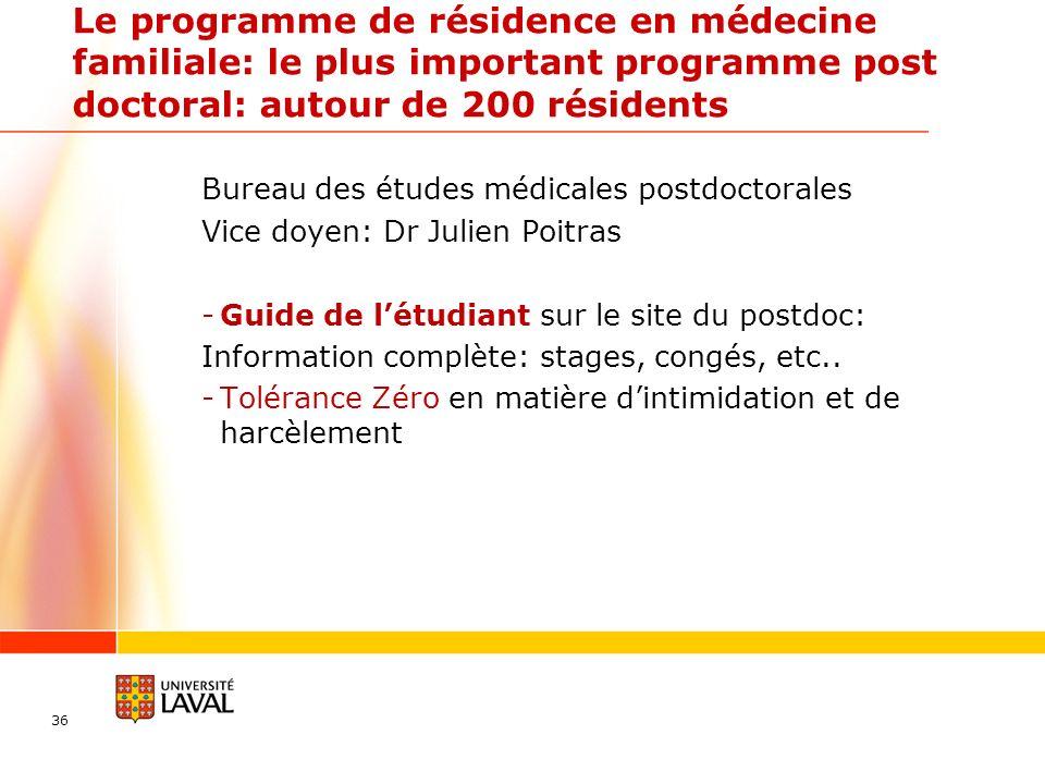 Le programme de résidence en médecine familiale: le plus important programme post doctoral: autour de 200 résidents Bureau des études médicales postdo