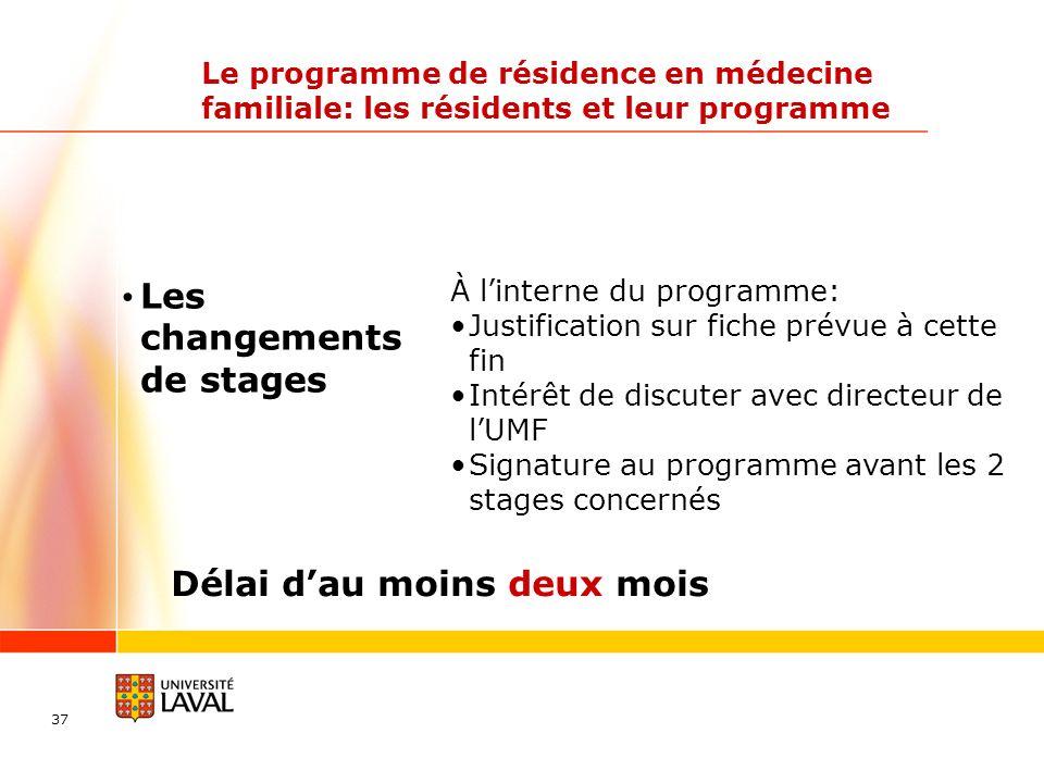 37 Le programme de résidence en médecine familiale: les résidents et leur programme À linterne du programme: Justification sur fiche prévue à cette fi