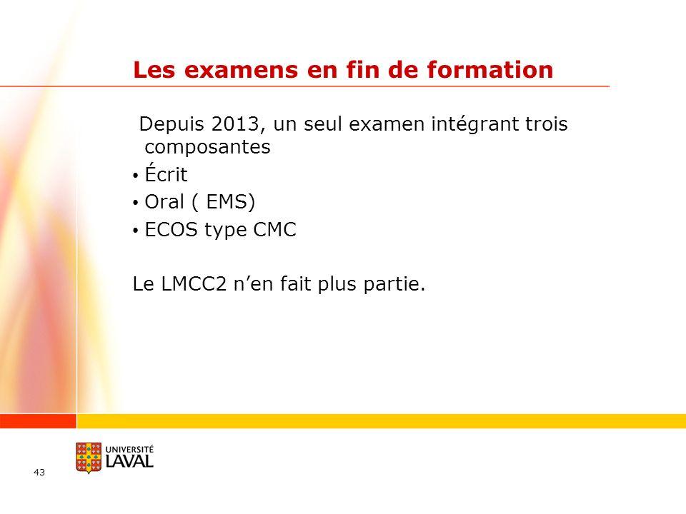 Les examens en fin de formation Depuis 2013, un seul examen intégrant trois composantes Écrit Oral ( EMS) ECOS type CMC Le LMCC2 nen fait plus partie.