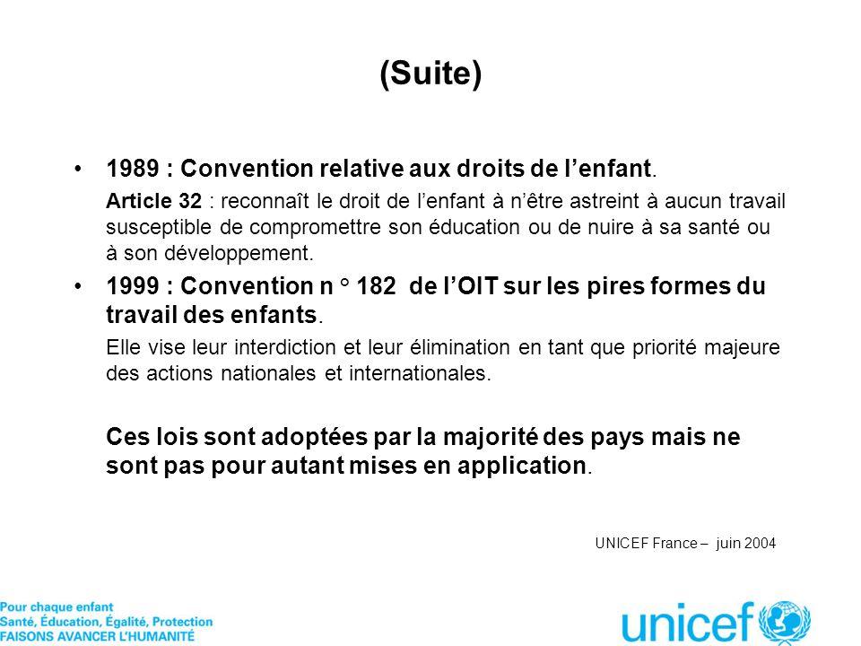 (Suite) 1989 : Convention relative aux droits de lenfant. Article 32 : reconnaît le droit de lenfant à nêtre astreint à aucun travail susceptible de c
