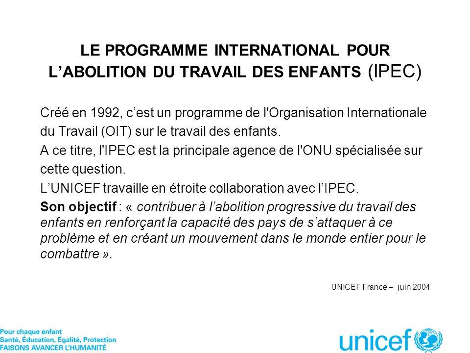 LE PROGRAMME INTERNATIONAL POUR LABOLITION DU TRAVAIL DES ENFANTS (IPEC) Créé en 1992, cest un programme de l'Organisation Internationale du Travail (