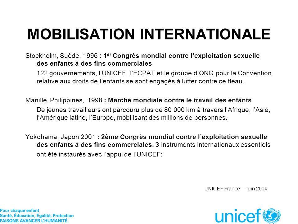 MOBILISATION INTERNATIONALE Stockholm, Suède, 1996 : 1 er Congrès mondial contre lexploitation sexuelle des enfants à des fins commerciales 122 gouver