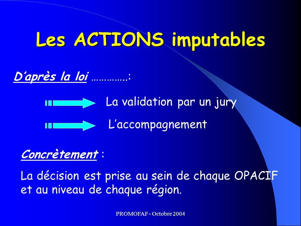 Les ACTIONS imputables La validation par un jury Laccompagnement Daprès la loi …………..: Concrètement : La décision est prise au sein de chaque OPACIF et au niveau de chaque région.