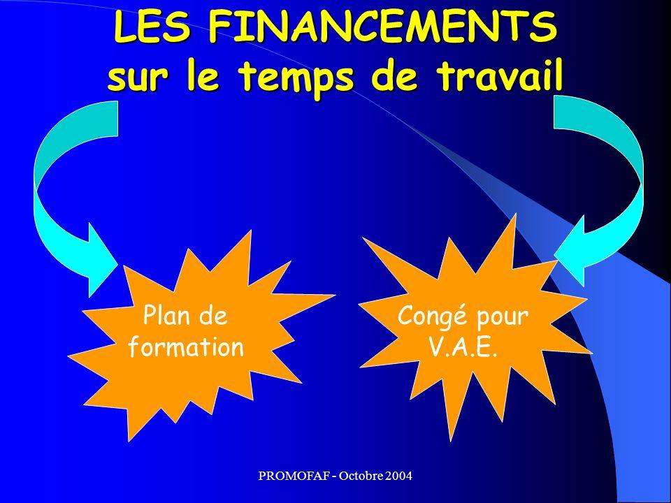 PROMOFAF - Octobre 2004 LES FINANCEMENTS sur le temps de travail Plan de formation Congé pour V.A.E.