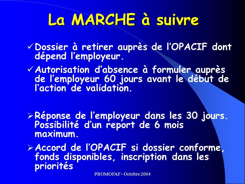 PROMOFAF - Octobre 2004 Dossier à retirer auprès de lOPACIF dont dépend lemployeur.
