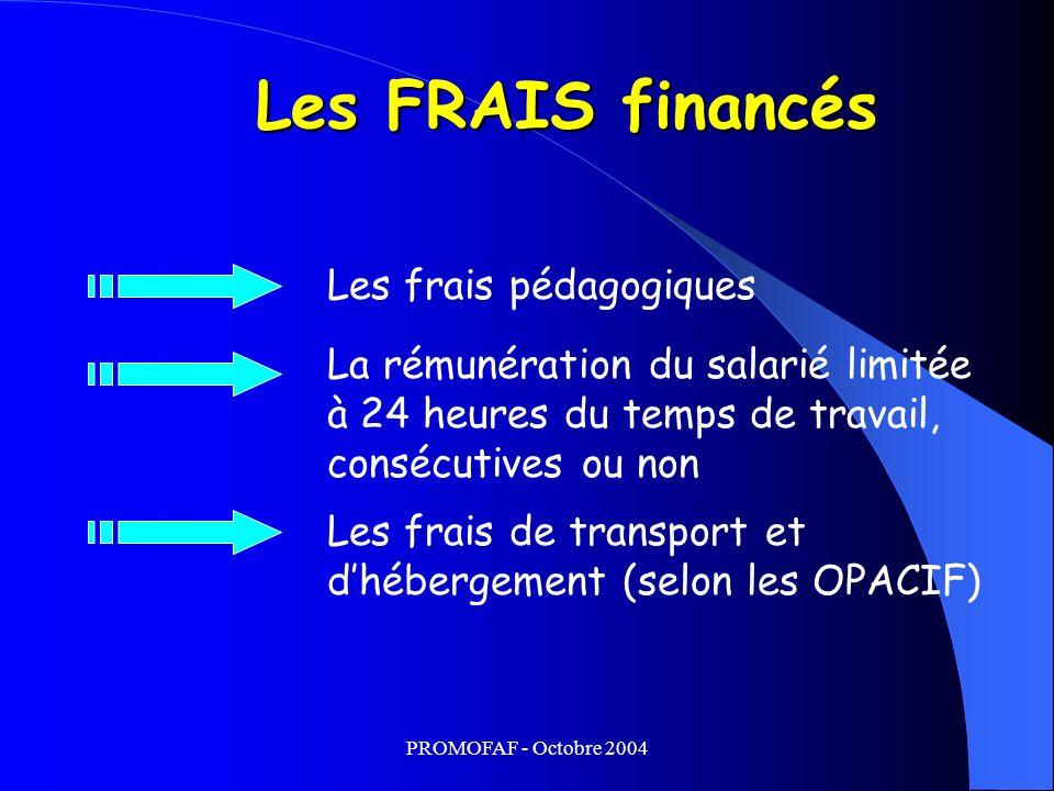 PROMOFAF - Octobre 2004 Les FRAIS financés Les frais pédagogiques Les frais de transport et dhébergement (selon les OPACIF) La rémunération du salarié limitée à 24 heures du temps de travail, consécutives ou non