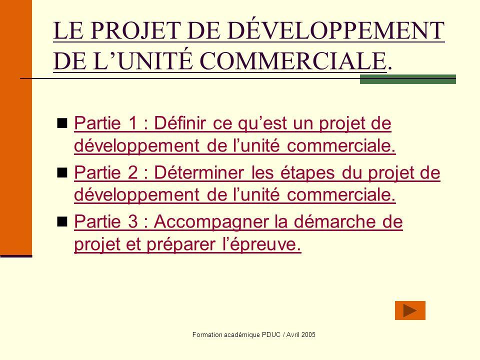 Formation académique PDUC / Avril 2005 LE PROJET DE DÉVELOPPEMENT DE LUNITÉ COMMERCIALE. Partie 1 : Définir ce quest un projet de développement de lun