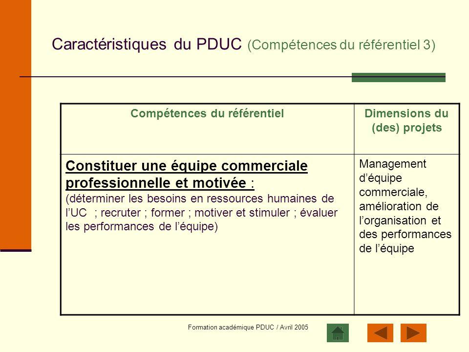Formation académique PDUC / Avril 2005 Caractéristiques du PDUC (Compétences du référentiel 3) Compétences du référentielDimensions du (des) projets C